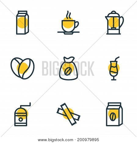 Editable Pack Of Mocha, Sweetener, Mill And Other Elements.  Vector Illustration Of 9 Coffee Icons.