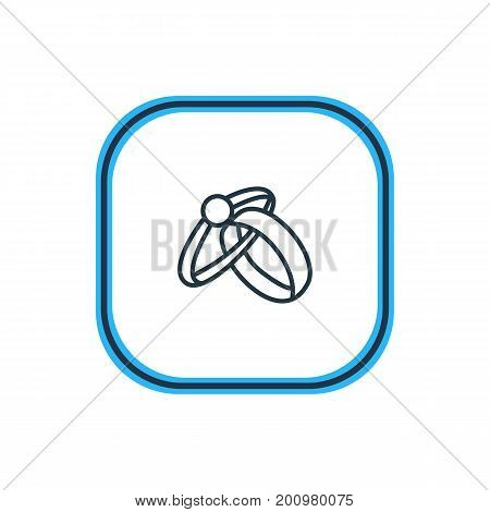 Beautiful Engagement Element Also Can Be Used As Engagement  Element.  Vector Illustration Of Rings Outline.