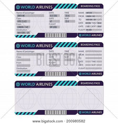Airline or plane ticket. Boarding pass blank and airplane ticket template. Vector illustration.
