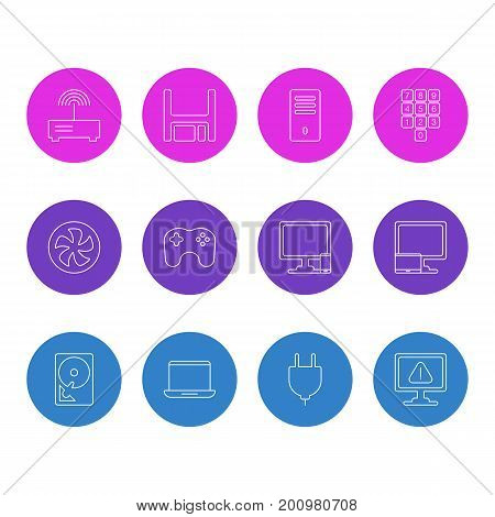 Editable Pack Of Hard Drive Disk, Notebook, Tablet With PC And Other Elements.  Vector Illustration Of 12 Computer Icons.