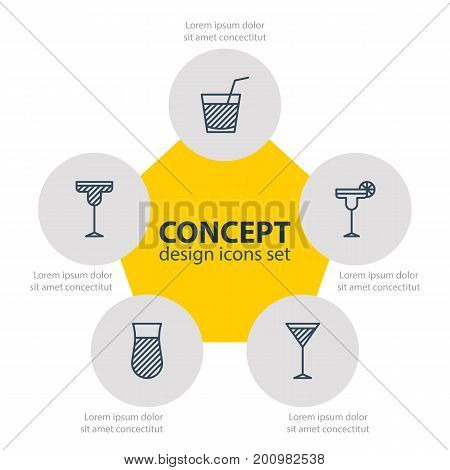 Editable Pack Of Beverage, Cocktail, Martini And Other Elements.  Vector Illustration Of 5 Drinks Icons.