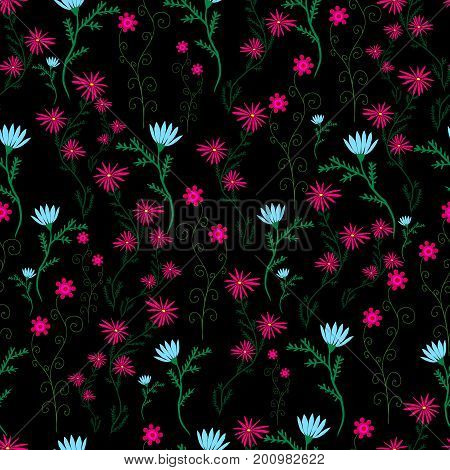 Wild campestral ornamental flowers blue crimson color on a black background. Beautiful floral seamless pattern. Vector hand drawing illustration.