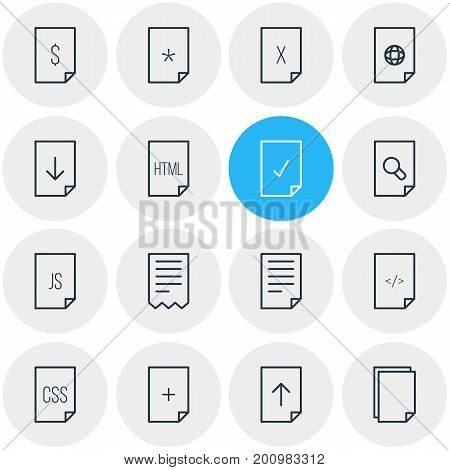 Editable Pack Of Remove, Script, HTML And Other Elements.  Vector Illustration Of 16 Page Icons.