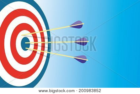 Archery Target With 3 Arrows Dart arrow hitting center target on blue background flat vector illustration