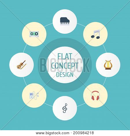 Flat Icons Lyre, Quaver, Tape And Other Vector Elements