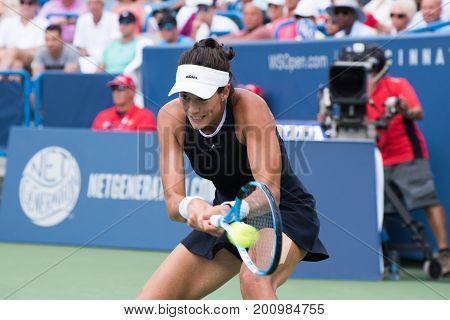 Mason Ohio - August 20 2017: Garbine Muguruza in the championship match at the Western and Southern Open tennis tournament in Mason Ohio on August 20 2017.