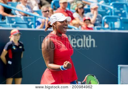Mason Ohio - August 13 2017: Taylor Townsend in a qualifying match at the Western and Southern Open tennis tournament in Mason Ohio on August 13 2017.