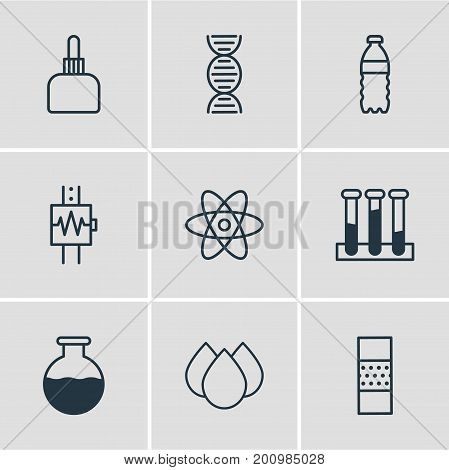 Editable Pack Of Heartbeat, Trickle, Experiment Flask And Other Elements.  Vector Illustration Of 9 Medical Icons.