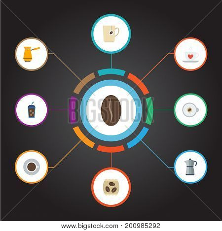 Flat Icons Moka Pot, Cappuccino, Saucer And Other Vector Elements