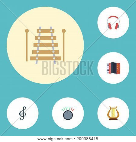 Flat Icons Quaver, Lyre, Musical Instrument And Other Vector Elements