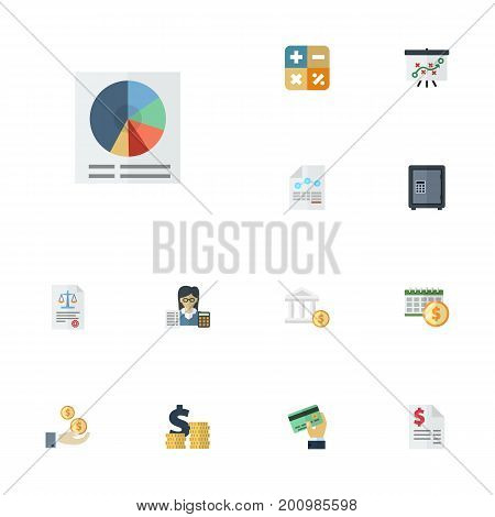 Flat Icons Act, Card, Safe And Other Vector Elements