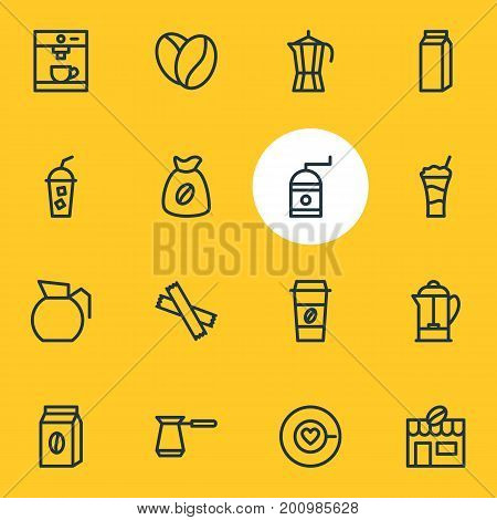 Editable Pack Of Mill, Sweetener, Coffeemaker And Other Elements.  Vector Illustration Of 16 Drink Icons.