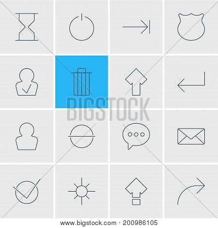 Editable Pack Of Message, Hourglass, Accsess And Other Elements.  Vector Illustration Of 16 UI Icons.