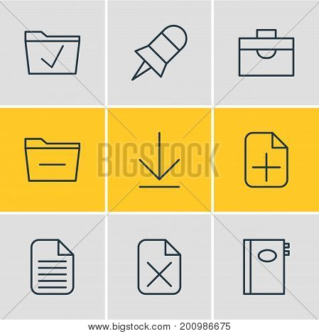 Editable Pack Of Remove, Downloading, Portfolio And Other Elements.  Vector Illustration Of 9 Bureau Icons.