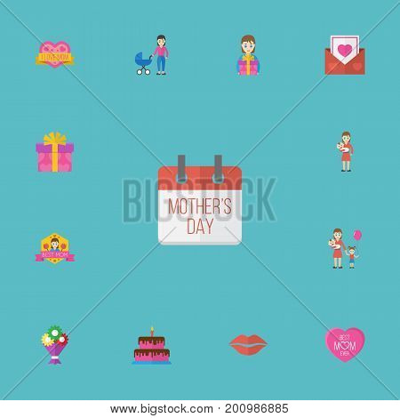 Happy Mother's Day Flat Icon Layout Design With Pastry, Emotion And Mam Symbols
