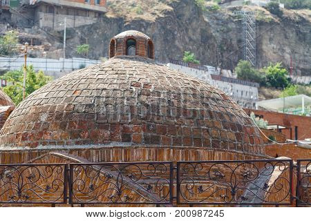 Abanotubani - Ancient District Of Tbilisi, Georgia, Known For Its Sulfuric Baths. The Roof With Dome
