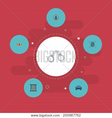 Flat Icons Warning Strip, Thumbprint, Manacles And Other Vector Elements