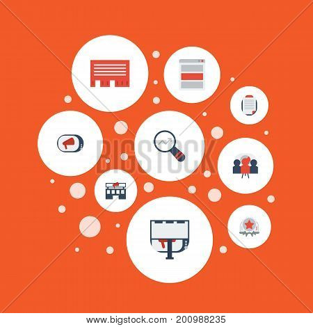 Flat Icons Building, Customer Summary, Award And Other Vector Elements