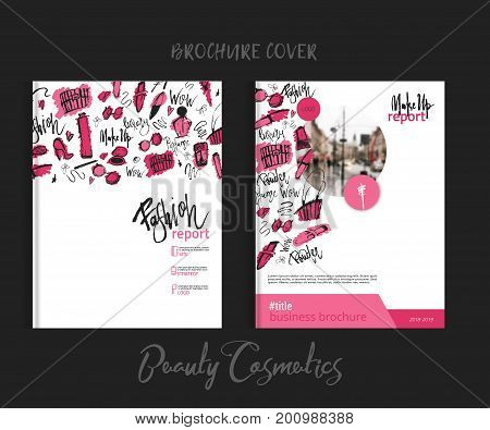 Print brochure makeup cover with beauty items with lipstick, mascara, brush for fashion promotion.