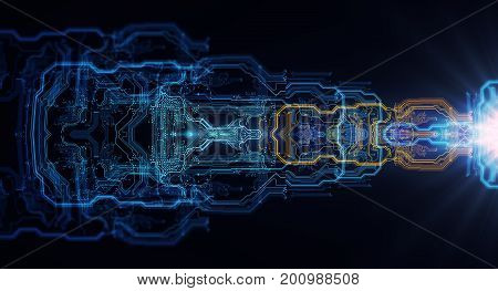Abstract technological background made of different element printed circuit board and flares. Depth of field effect and bokeh. 3d Illustration