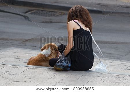 A Young Girl Sits Near To A Homeless Dog Or Pet And Feed It