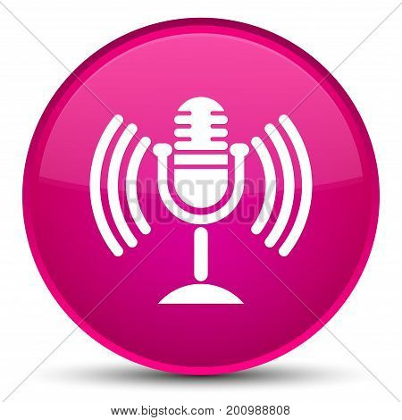 Mic Icon Special Pink Round Button
