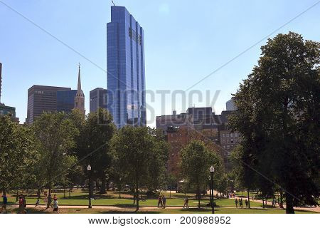 Boston, Massachusetts - August 16, 2017. Boston Common public park in downtown Boston Massachusett