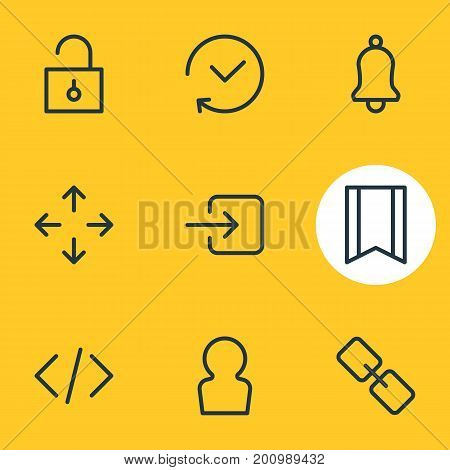 Editable Pack Of Url, Past, Pennant And Other Elements.  Vector Illustration Of 9 App Icons.