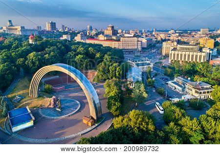 Aerial view of Kiev with Friendship of Nations Arch and European Square - Ukraine, Eastern Europe