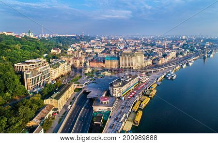 Aerial view of River Port, Podil and Postal Square in Kiev, the capital of Ukraine