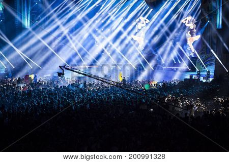 Cluj-Napoca, Romania - August 3, 2017:   Crowd having fun at a Dillon Francis, an American DJ and record producer,  live concert at Untold Festival, the Best Major Music Festival of Europe