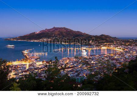 Aerial night view of Zakynthos city in Zante island in Greece