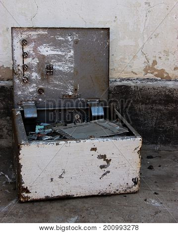 Old Rarity Metal Box With Iron Details