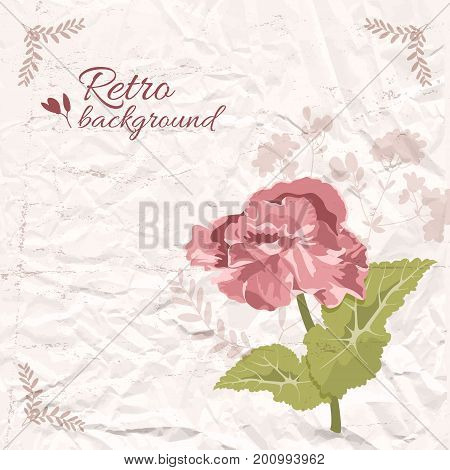 Retro decorative floral template with red flower green leaves on textured wrinkled paper vector illustration