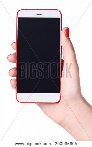 Feminine phone. Modern bezel-less smartphone with blank screen in female hand isolated on white background