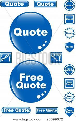 free quote glossy button blue icon