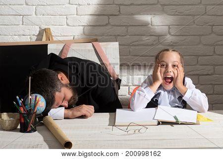 Schoolgirl With Shocked Face And Her Sleeping Tutor