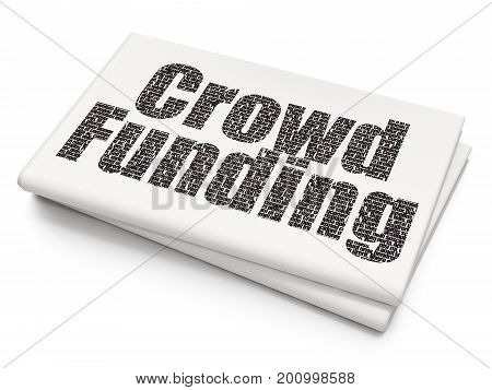 Business concept: Pixelated black text Crowd Funding on Blank Newspaper background, 3D rendering