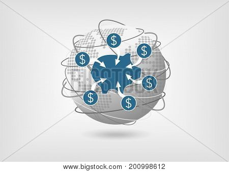 Concept to withdraw money from savings account in global economy. Economic crisis or downturn vector illustration