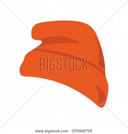 Vector illustration: red beanie  hat or seamed cap, also known as knitted or knit cap isolated.