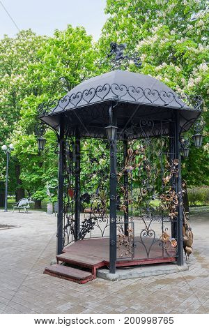 Beautiful gazebo made of forged metal. Donetsk Ukraine