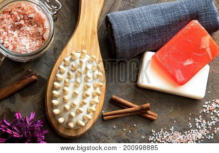 Spa and Wellness - Bath brush Towel Sea salt and Homemade soap. Ingredients for Cellulite Massage