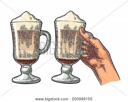 Hand holding a glass of Latte macchiato coffee with whipped cream. Hand drawn sketch style. Vintage color vector engraving illustration for label web flayer. Isolated on white background