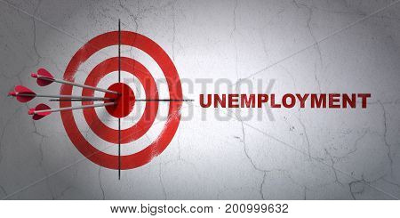 Success business concept: arrows hitting the center of target, Red Unemployment on wall background, 3D rendering
