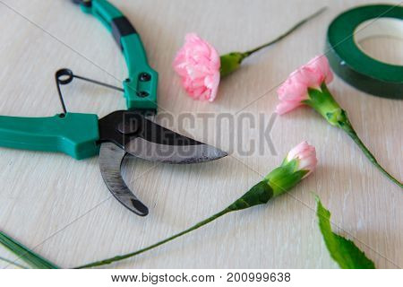Floristics Hobby And Work. Floral Bouquet Making Process. Minimalistic Background With Copy Space. T