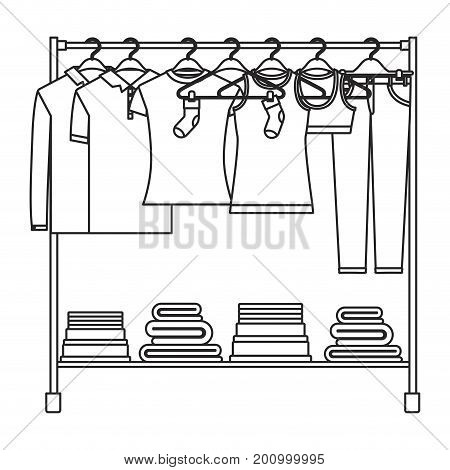 monochrome silhouette of clothes rack with t-shirts and pants on hangers and fold clothes on bottom vector illustration