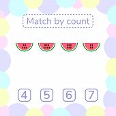 vector illustration. counting game for preschool children. mathematical game. count the items in the picture and choose the right answer. rebus for children. watermelon seeds poster