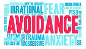 Avoidance word cloud on a white background. poster