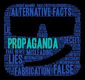 Propaganda Word Cloud on a black background. poster