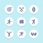 sports icons set, archery, lacrosse, cricket, football, fencing, boxing, weightlifting, running, arm wrestling vector pictograms poster